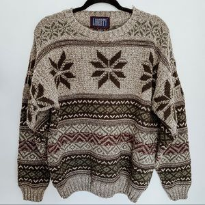 Vintage Oversized Snowflake Knit Sweater